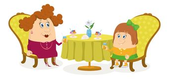 Mother and daughter near table, isolated Royalty Free Stock Photo