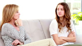 Mother and daughter not talking after argument stock footage