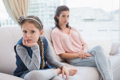 Mother and daughter not talking after argument Stock Images