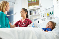 Mother And Daughter With Nurse In Intensive Care Unit Stock Photography