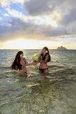 Mother and daughter in the ocean Royalty Free Stock Photos