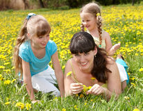 Mother with daughter in outdoor. Royalty Free Stock Photo