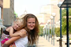 Mother with daughter outdoor Stock Photography