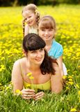 Mother with daughter in outdoor. Stock Images