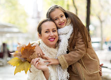 Mother and daughter in outdoor Stock Images