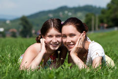 Mother and daughter outdoors Stock Image