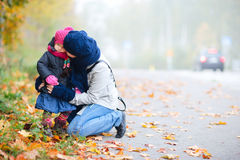 Mother and daughter outdoors on foggy day Royalty Free Stock Photography