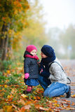 Mother And Daughter Outdoors On Foggy Day Royalty Free Stock Photos