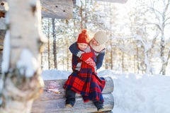 Mother and daughter outdoors on winter Stock Image