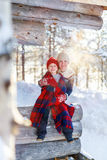 Mother and daughter outdoors on winter Stock Photos