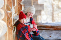 Mother and daughter outdoors on winter Royalty Free Stock Photography