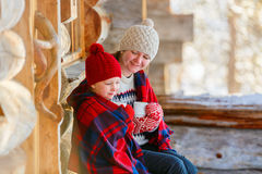 Mother and daughter outdoors on winter Royalty Free Stock Photo