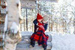 Mother and daughter outdoors on winter stock photo