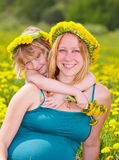 Mother with daughter outdoors Royalty Free Stock Photo