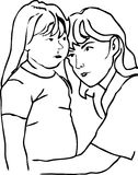 Mother and daughter outline. Stock Photos