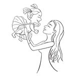 Mother and daughter outline vector illustration. Happy female fa Royalty Free Stock Image