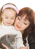 Mother and daughter over white Stock Photography