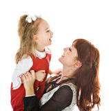 Mother and daughter over white Royalty Free Stock Photo