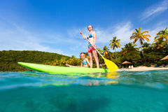 Mother and daughter paddling Royalty Free Stock Image