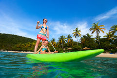 Mother and daughter paddling Royalty Free Stock Photo
