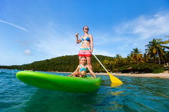 Mother and daughter paddling royalty free stock images