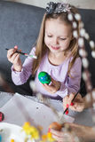 Mother and daughter paint easter eggs Royalty Free Stock Image
