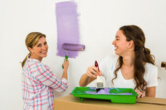 Mother and daughter painting Royalty Free Stock Images