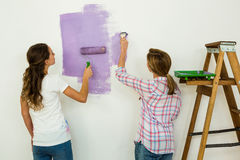 Mother and daughter painting Royalty Free Stock Photo
