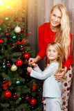 Mother and daughter in pajamas Royalty Free Stock Photo