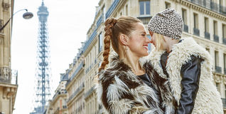 Mother and daughter in Paris, France looking at each other Royalty Free Stock Photography