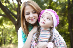Mother and daughter at the park. Royalty Free Stock Images