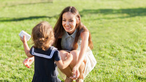 Mother and daughter in the park. Happy Stock Photography