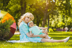 Mother with daughter in the park Stock Image