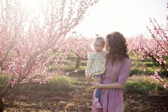 Mom and daughter. stock images