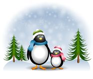 Mother Daughter Penguins 2. A clip art illustration featuring a mother and daughter penguin theme - holding hands in the snow and looking at each other with love Royalty Free Stock Images