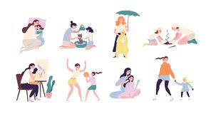 Mother and daughter performing daily activities together - reading book, planting tree, walking under rain, playing. Sports game, ice-skating, painting, washing vector illustration