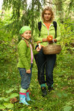 Mother and daughter picking mushrooms royalty free stock photography