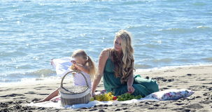 Mother and daughter at a picnic stock footage