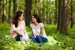 Mother and daughter at a picnic. Portrait of mother and daughter talking, sitting on a blanket at a picnic Royalty Free Stock Image