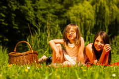 Mother and daughter on picnic. Summer leisure. Royalty Free Stock Photos
