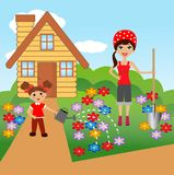 Mother with daughter plant flowers in soil Royalty Free Stock Images