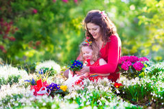 Mother and daughter planting flowers Royalty Free Stock Image