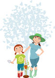 Mother and daughter planting a tree Royalty Free Stock Photos
