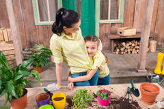 Mother and daughter with plants and flowerpots standing and hugging at table Stock Images