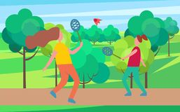 Mother and Daughter Playing Badminton Illustration stock illustration