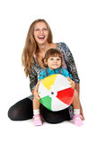 Mother and daughter playing ball Royalty Free Stock Photography