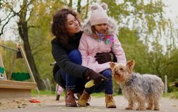 Mother and daughter playing with dog on playground.  Royalty Free Stock Photos