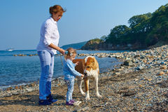 Mother and daughter playing with a dog stock photography