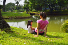 Mother And Daughter Playing Outdoor Royalty Free Stock Images