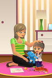 Mother Daughter Playing Together. A vector illustration of happy daughter playing together with her mother in bedroom vector illustration